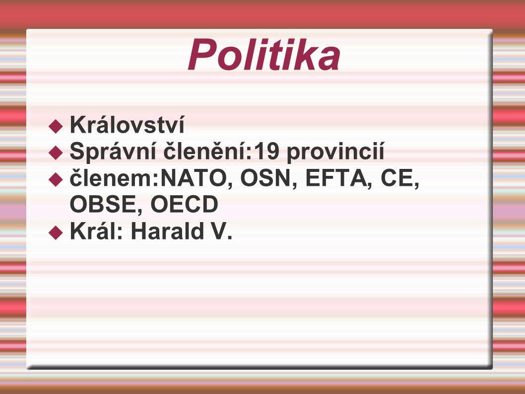 Politika  Království  Správní členění:19 provincií  členem:NATO, OSN, EFTA, CE, OBSE, OECD  Král: Harald V.
