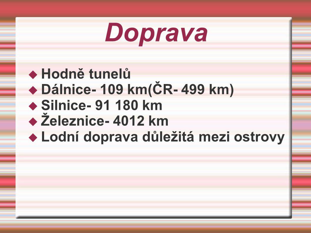Doprava  Hodně tunelů  Dálnice- 109 km(ČR- 499 km)  Silnice- 91 180 km  Železnice- 4012 km  Lodní doprava důležitá mezi ostrovy