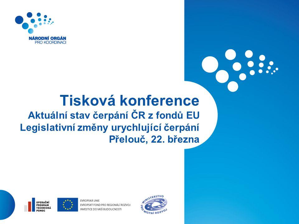 1 Tisková konference Aktuální stav čerpání ČR z fondů EU Legislativní změny urychlující čerpání Přelouč, 22. března