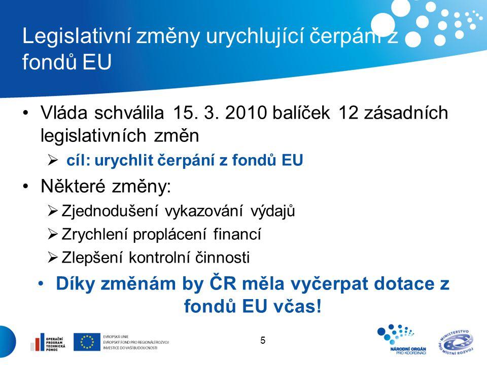 5 Legislativní změny urychlující čerpání z fondů EU Vláda schválila 15. 3. 2010 balíček 12 zásadních legislativních změn  cíl: urychlit čerpání z fon