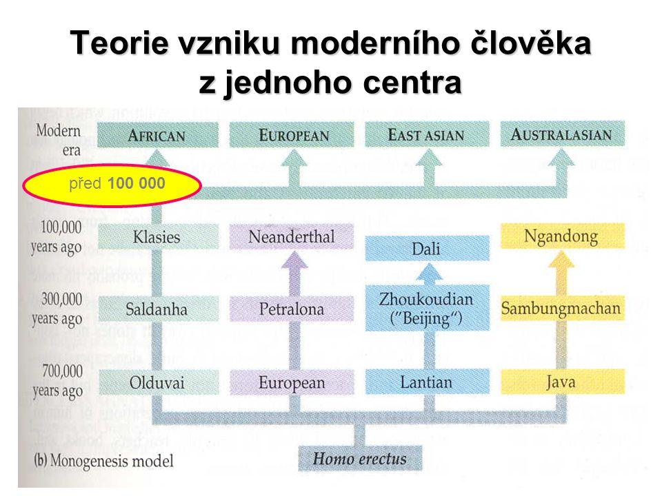 Teorie vzniku moderního člověka z jednoho centra před 100 000
