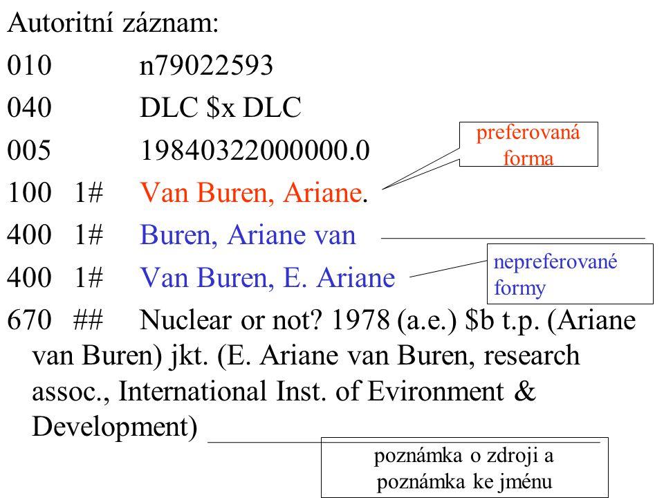 Autoritní záznam: 010n79022593 040DLC $x DLC 00519840322000000.0 1001#Van Buren, Ariane. 4001#Buren, Ariane van 4001#Van Buren, E. Ariane 670##Nuclear