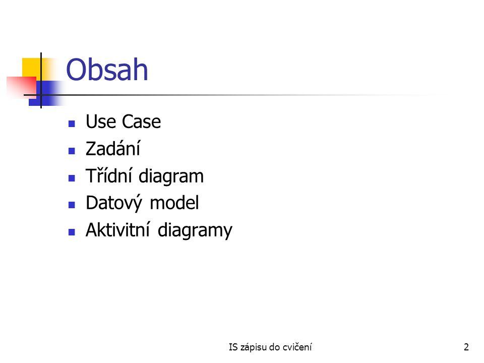 IS zápisu do cvičení2 Obsah Use Case Zadání Třídní diagram Datový model Aktivitní diagramy