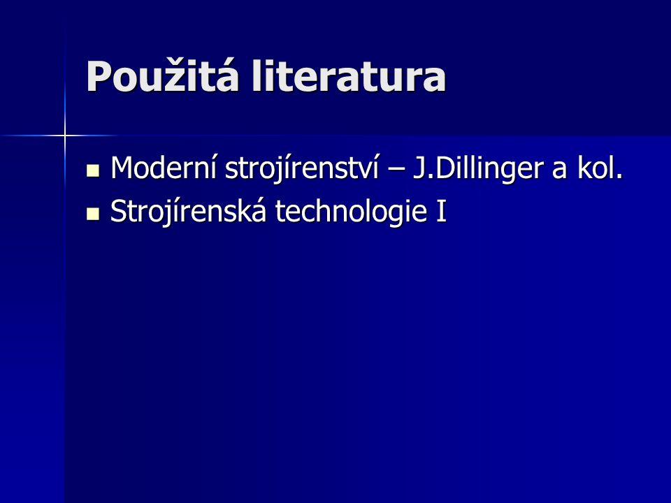 Použitá literatura Moderní strojírenství – J.Dillinger a kol. Moderní strojírenství – J.Dillinger a kol. Strojírenská technologie I Strojírenská techn