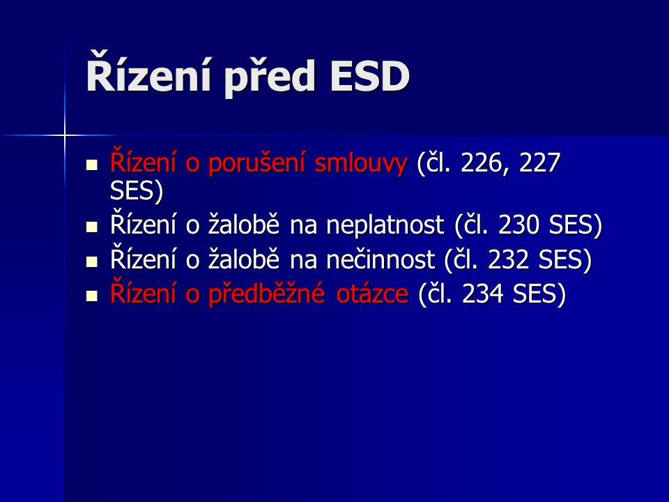 Řízení před ESD Řízení o porušení smlouvy (čl. 226, 227 SES) Řízení o porušení smlouvy (čl. 226, 227 SES) Řízení o žalobě na neplatnost (čl. 230 SES)