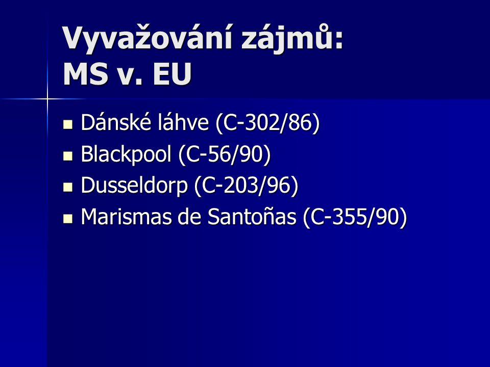 Vyvažování zájmů: MS v. EU Dánské láhve (C-302/86) Dánské láhve (C-302/86) Blackpool (C-56/90) Blackpool (C-56/90) Dusseldorp (C-203/96) Dusseldorp (C