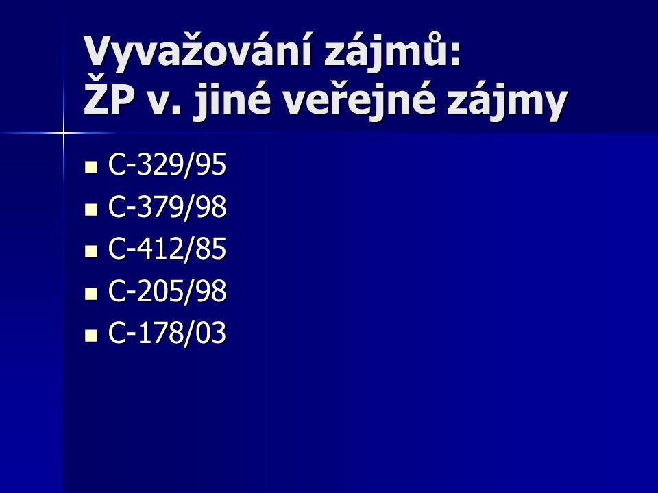 Vyvažování zájmů: ŽP v. jiné veřejné zájmy C-329/95 C-329/95 C-379/98 C-379/98 C-412/85 C-412/85 C-205/98 C-205/98 C-178/03 C-178/03