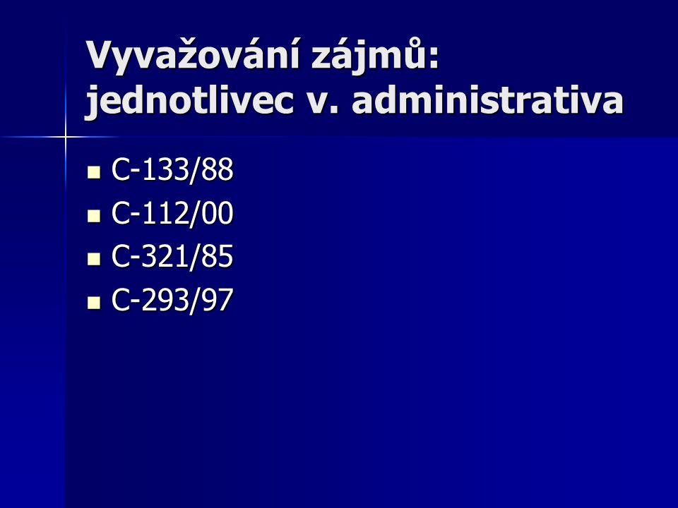 Vyvažování zájmů: jednotlivec v. administrativa C-133/88 C-133/88 C-112/00 C-112/00 C-321/85 C-321/85 C-293/97 C-293/97