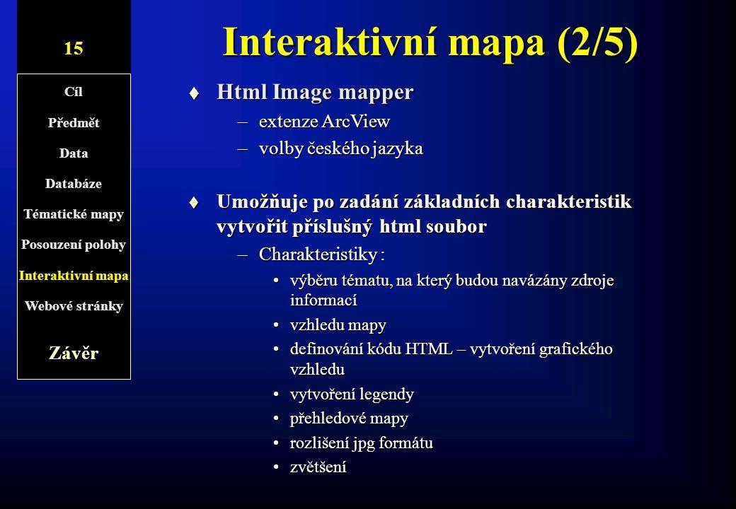 8/1 Interaktivní mapa (2/5) t Html Image mapper –extenze ArcView –volby českého jazyka t Umožňuje po zadání základních charakteristik vytvořit přísluš