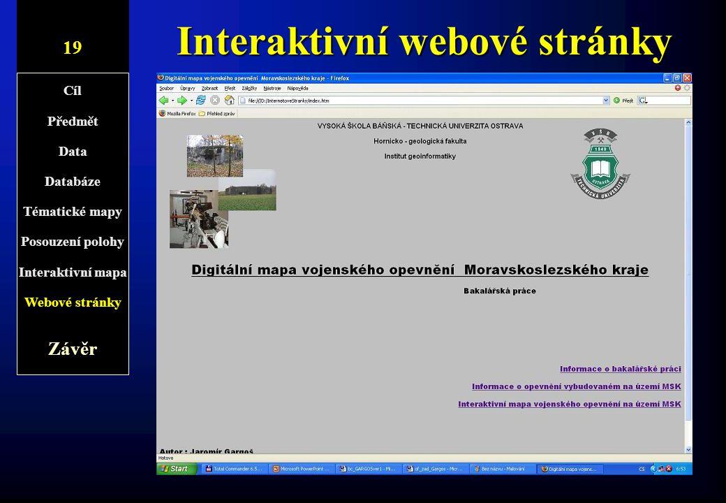 Interaktivní webové stránky 10/1 t Konečná úprava byla provedena v programu Microsoft FrontPage –Úprava interaktivní mapy –Vytvoření titulní stránky p