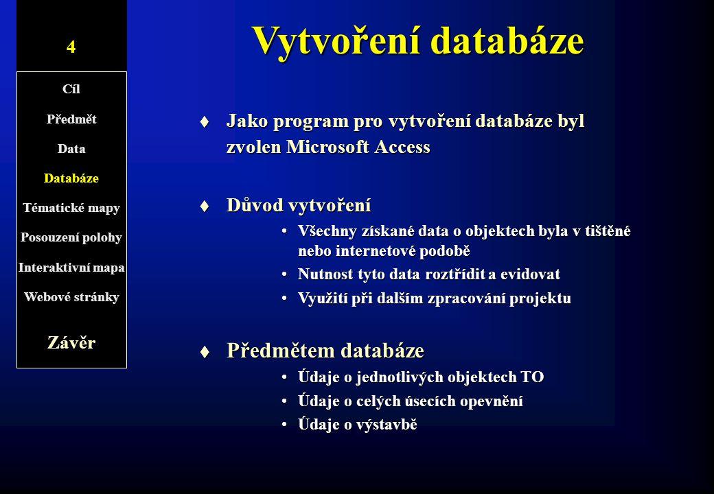 Vytvoření databáze t Jako program pro vytvoření databáze byl zvolen Microsoft Access t Důvod vytvoření Všechny získané data o objektech byla v tištěné
