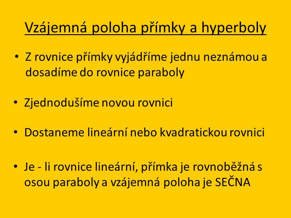 Vzájemná poloha přímky a hyperboly Z rovnice přímky vyjádříme jednu neznámou a dosadíme do rovnice paraboly Zjednodušíme novou rovnici Dostaneme lineá