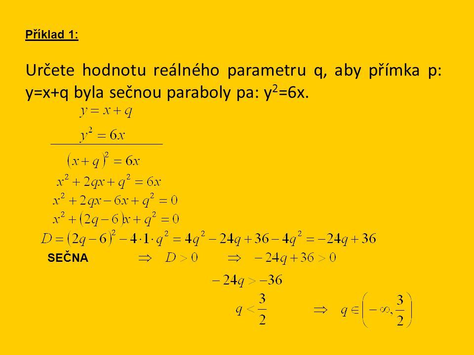 Určete hodnotu reálného parametru q, aby přímka p: y=x+q byla sečnou paraboly pa: y 2 =6x. Příklad 1: SEČNA