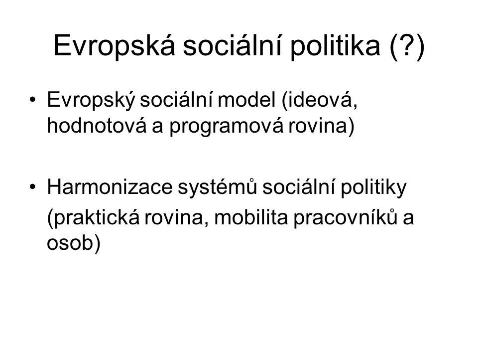Evropská sociální politika (?) Evropský sociální model (ideová, hodnotová a programová rovina) Harmonizace systémů sociální politiky (praktická rovina, mobilita pracovníků a osob)