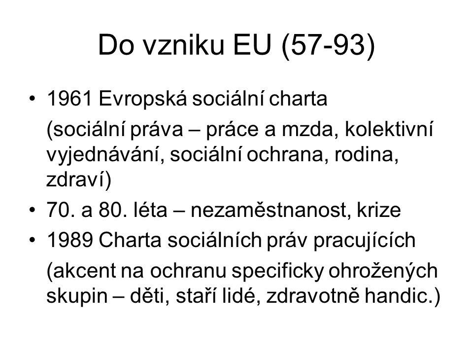Po vzniku EU 1993 Treaty – články o soc.politice Bílá kniha (93) – zam., Bílá kniha (94) – soc.pol.