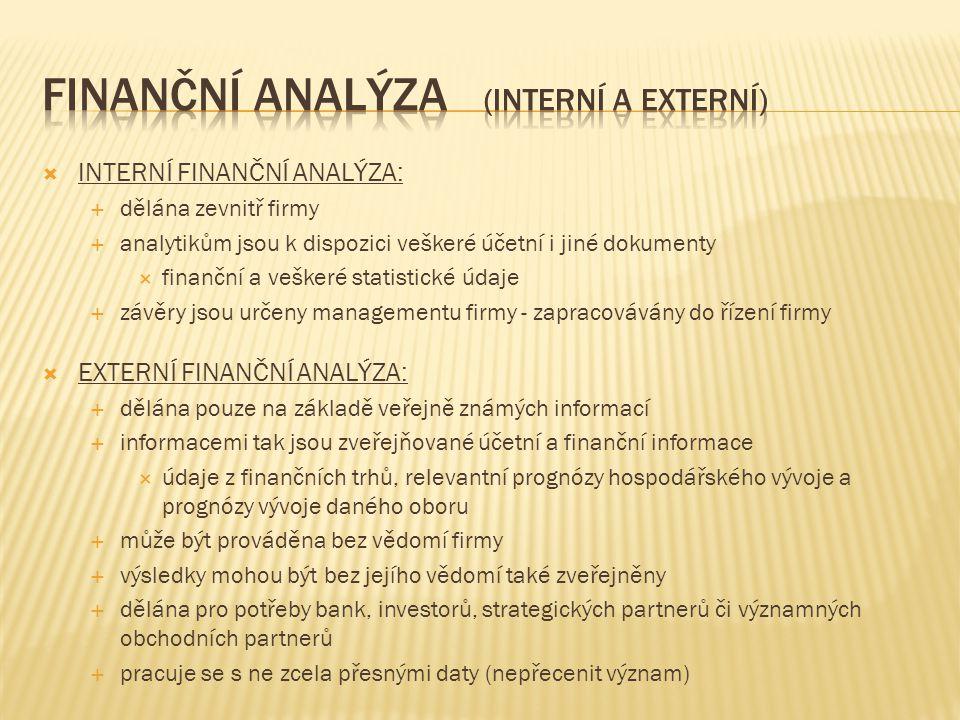  INTERNÍ FINANČNÍ ANALÝZA:  dělána zevnitř firmy  analytikům jsou k dispozici veškeré účetní i jiné dokumenty  finanční a veškeré statistické údaje  závěry jsou určeny managementu firmy - zapracovávány do řízení firmy  EXTERNÍ FINANČNÍ ANALÝZA:  dělána pouze na základě veřejně známých informací  informacemi tak jsou zveřejňované účetní a finanční informace  údaje z finančních trhů, relevantní prognózy hospodářského vývoje a prognózy vývoje daného oboru  může být prováděna bez vědomí firmy  výsledky mohou být bez jejího vědomí také zveřejněny  dělána pro potřeby bank, investorů, strategických partnerů či významných obchodních partnerů  pracuje se s ne zcela přesnými daty (nepřecenit význam)