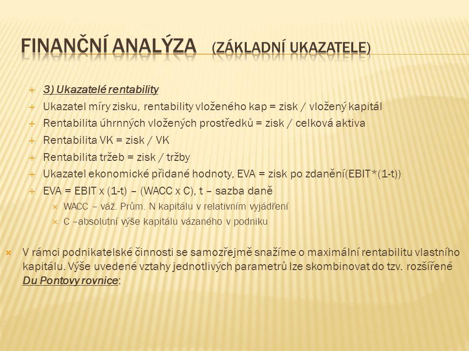  3) Ukazatelé rentability  Ukazatel míry zisku, rentability vloženého kap = zisk / vložený kapitál  Rentabilita úhrnných vložených prostředků = zisk / celková aktiva  Rentabilita VK = zisk / VK  Rentabilita tržeb = zisk / tržby  Ukazatel ekonomické přidané hodnoty, EVA = zisk po zdanění(EBIT*(1-t))  EVA = EBIT x (1-t) – (WACC x C), t – sazba daně  WACC – váž.