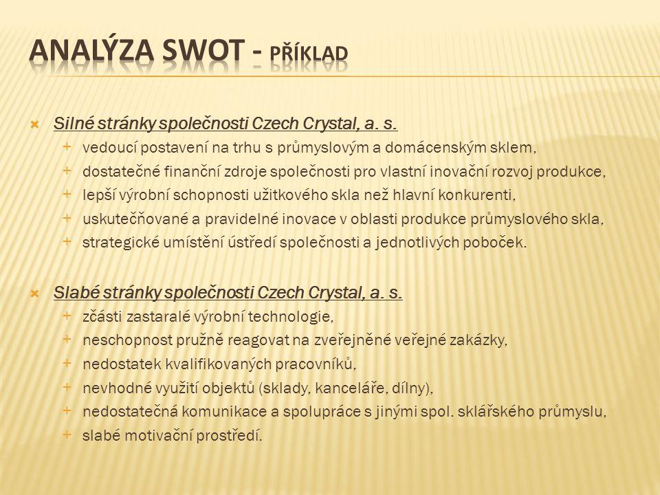  Silné stránky společnosti Czech Crystal, a.s.