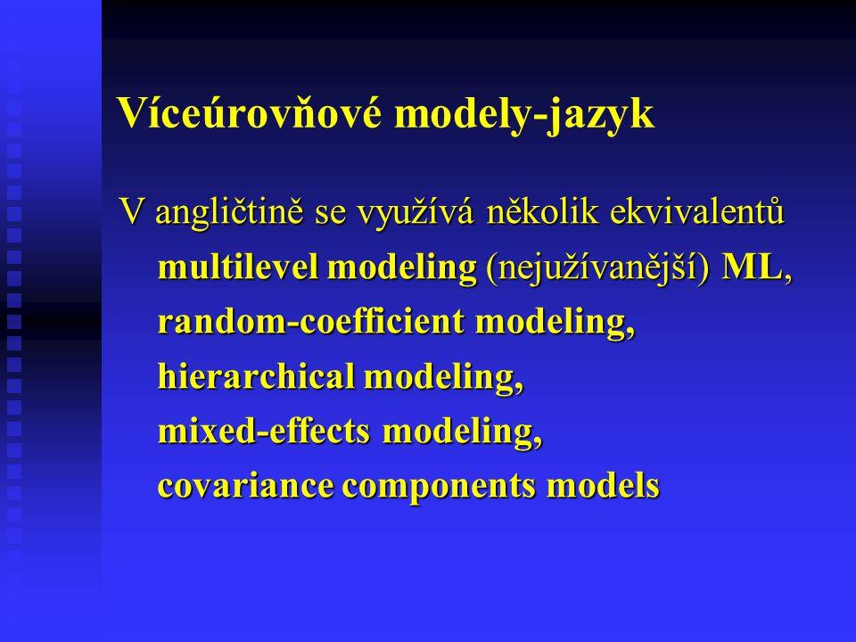 Víceúrovňové modely-jazyk V angličtině se využívá několik ekvivalentů multilevel modeling (nejužívanější) ML, multilevel modeling (nejužívanější) ML,