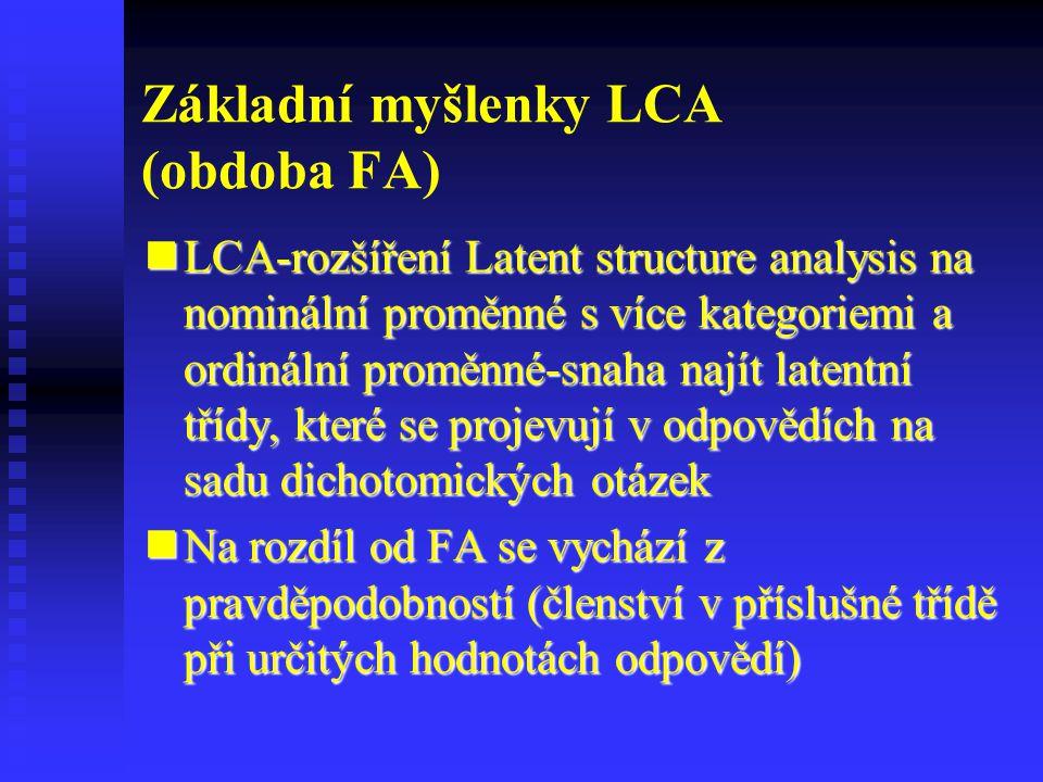 Základní myšlenky LCA (obdoba FA) LCA-rozšíření Latent structure analysis na nominální proměnné s více kategoriemi a ordinální proměnné-snaha najít la
