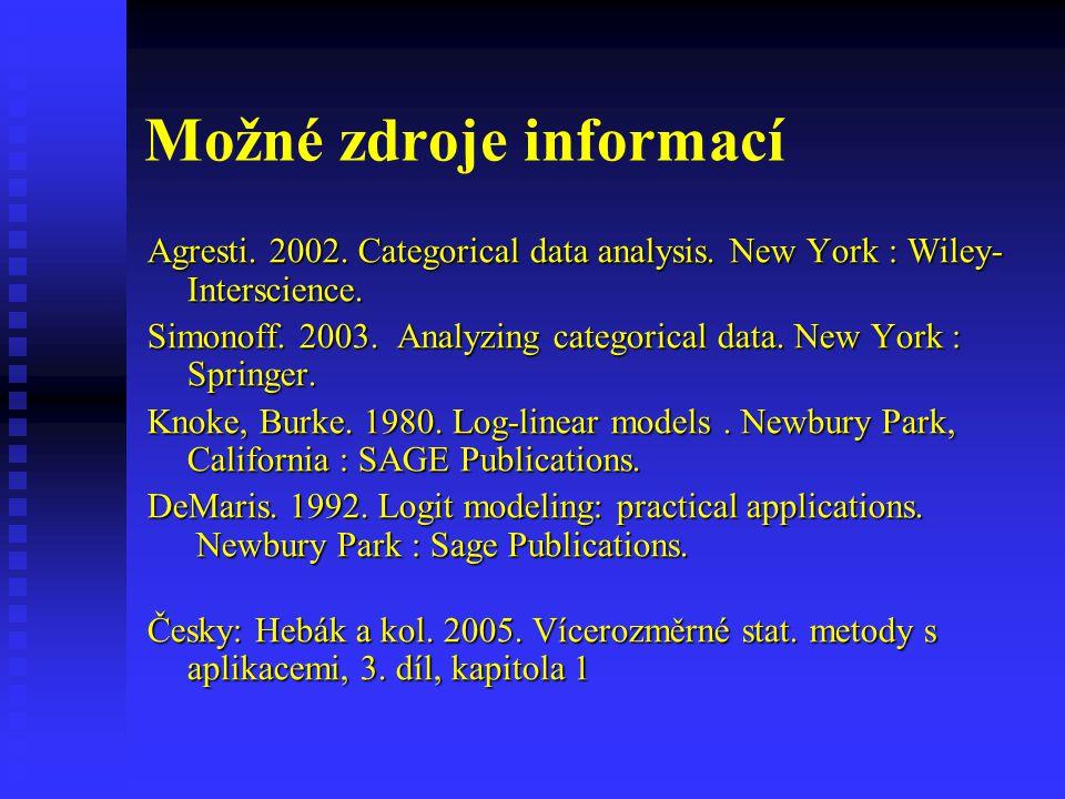 Možné zdroje informací Agresti. 2002. Categorical data analysis. New York : Wiley- Interscience. Simonoff. 2003. Analyzing categorical data. New York