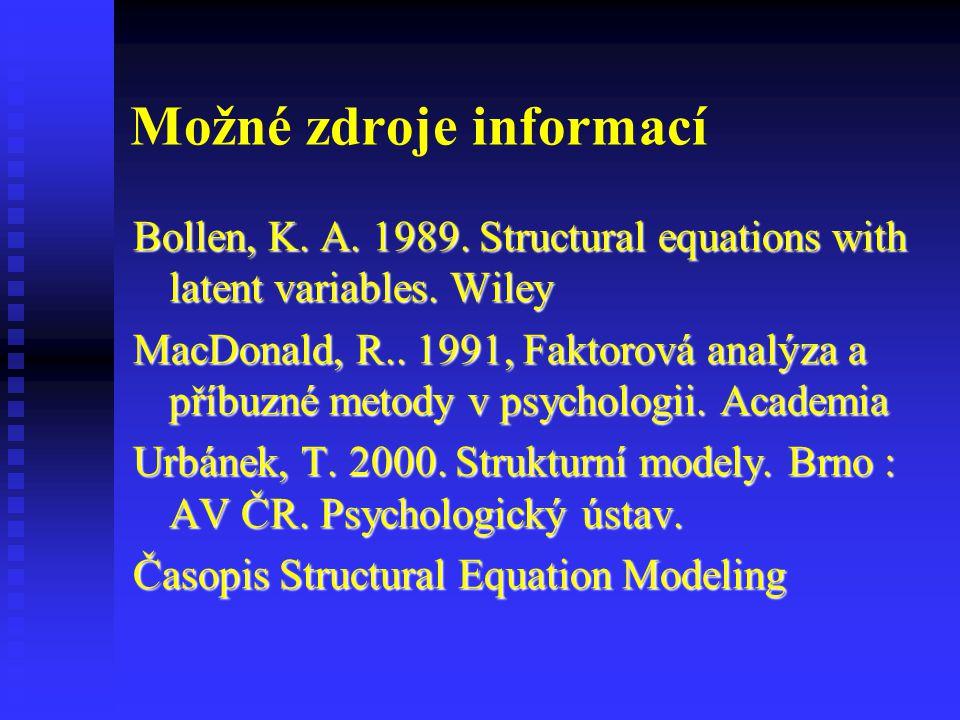 Možné zdroje informací Bollen, K. A. 1989. Structural equations with latent variables. Wiley MacDonald, R.. 1991, Faktorová analýza a příbuzné metody