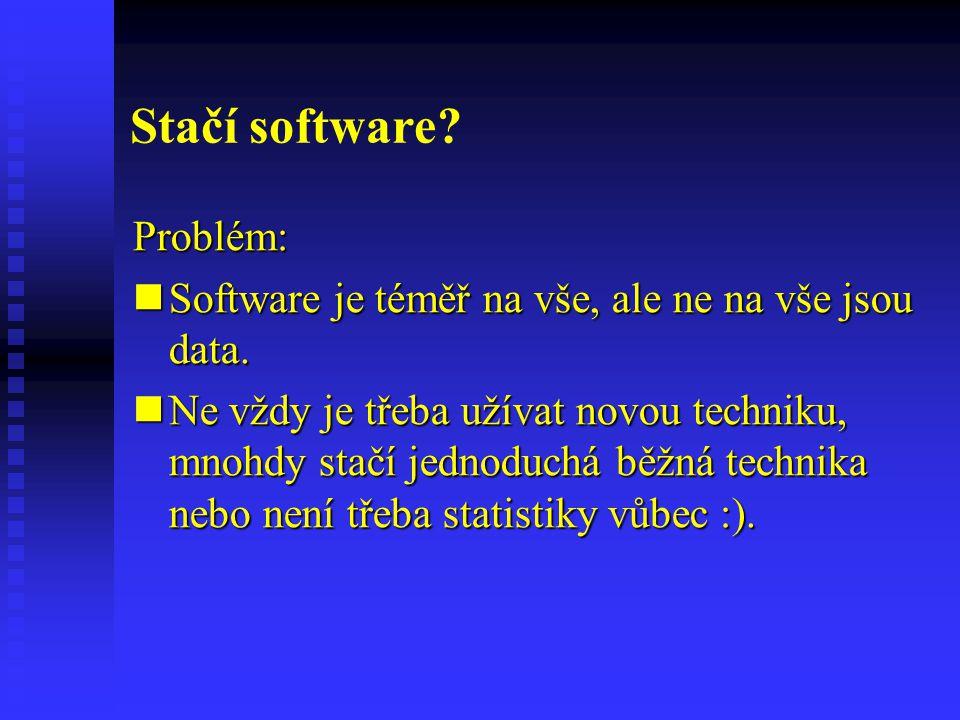 Stačí software? Problém: Software je téměř na vše, ale ne na vše jsou data. Software je téměř na vše, ale ne na vše jsou data. Ne vždy je třeba užívat