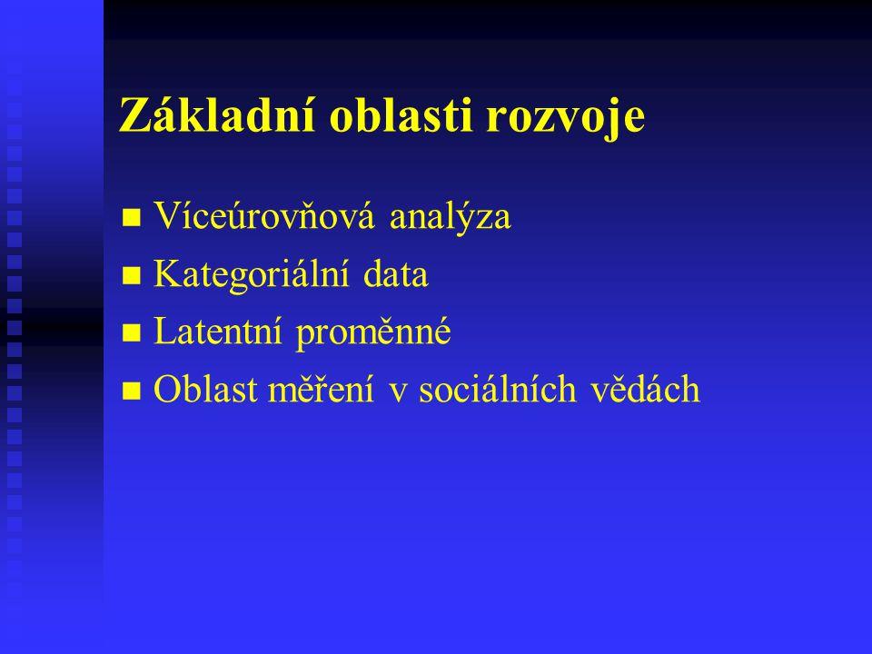 Základní oblasti rozvoje Víceúrovňová analýza Kategoriální data Latentní proměnné Oblast měření v sociálních vědách