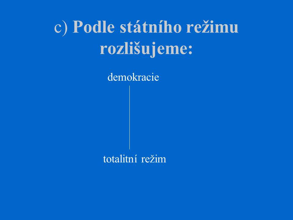c) Podle státního režimu rozlišujeme: demokracie totalitní režim