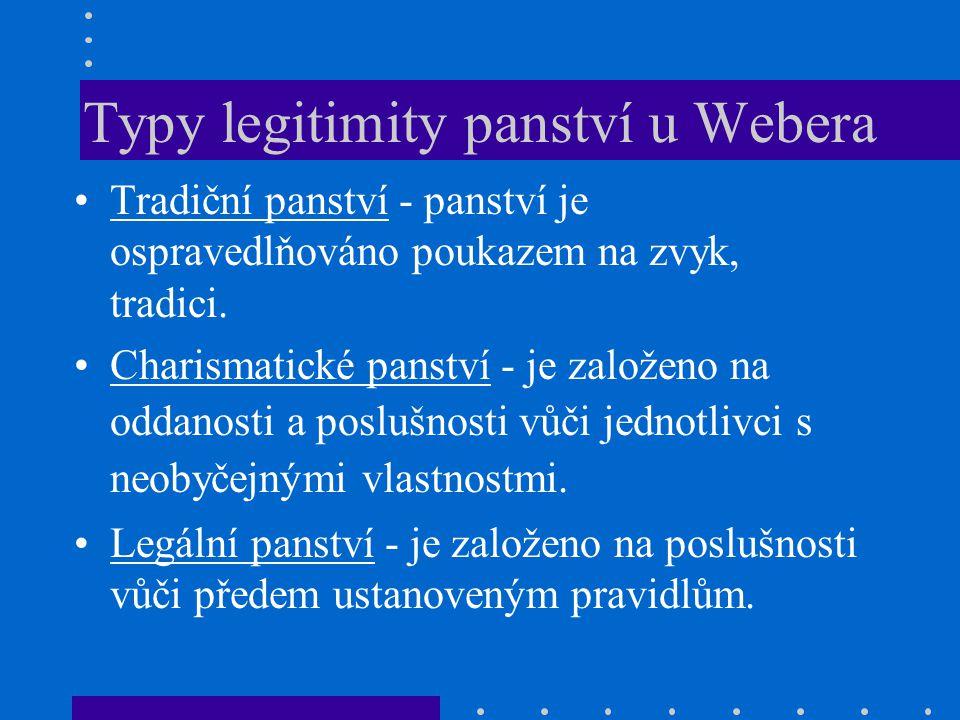 Typy legitimity panství u Webera Tradiční panství - panství je ospravedlňováno poukazem na zvyk, tradici.