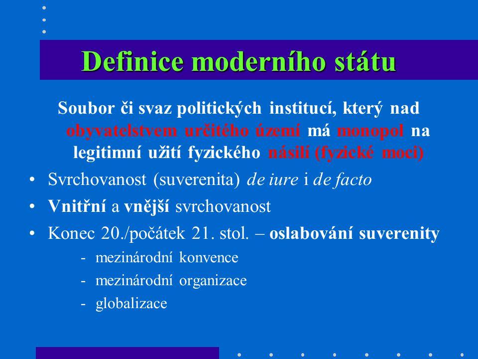 Definice moderního státu Soubor či svaz politických institucí, který nad obyvatelstvem určitého území má monopol na legitimní užití fyzického násilí (fyzické moci) Svrchovanost (suverenita) de iure i de facto Vnitřní a vnější svrchovanost Konec 20./počátek 21.