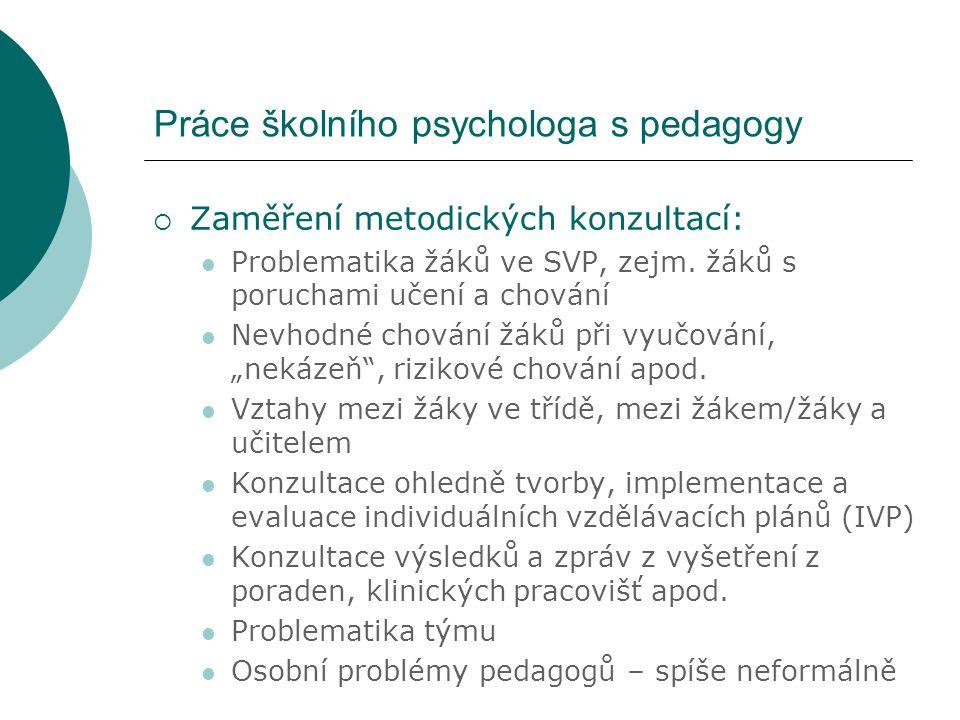 Práce školního psychologa s pedagogy  Zaměření metodických konzultací: Problematika žáků ve SVP, zejm. žáků s poruchami učení a chování Nevhodné chov