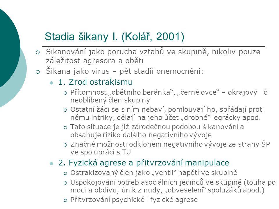 Stadia šikany I. (Kolář, 2001)  Šikanování jako porucha vztahů ve skupině, nikoliv pouze záležitost agresora a oběti  Šikana jako virus – pět stadií