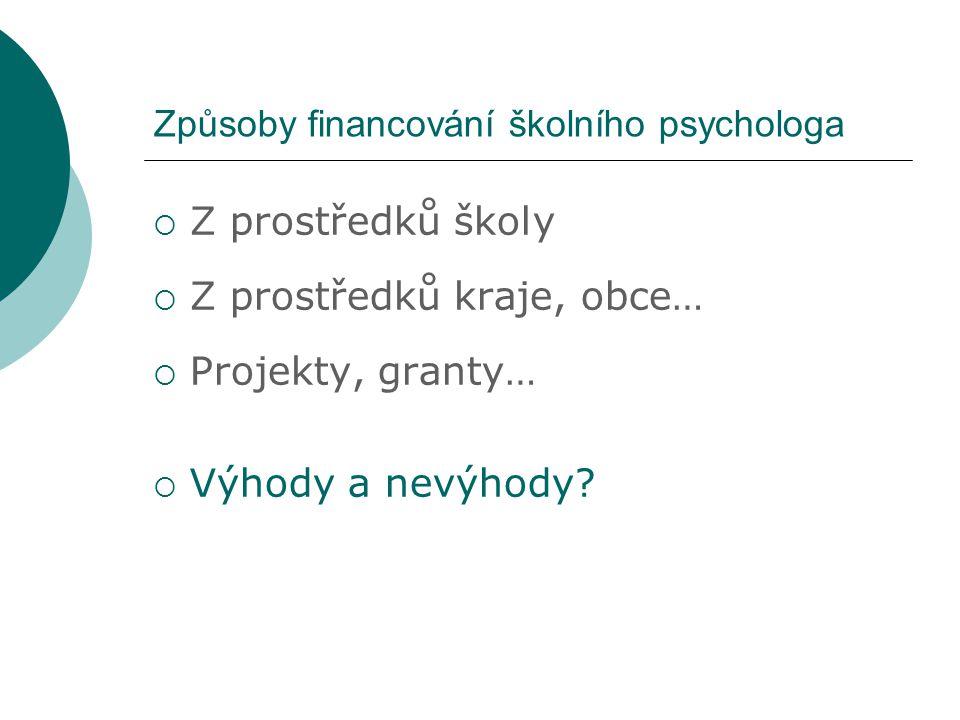 Rozvoj školní psychologie v ČR  Instituce ŠP se v ČR poprvé objevuje v 90.