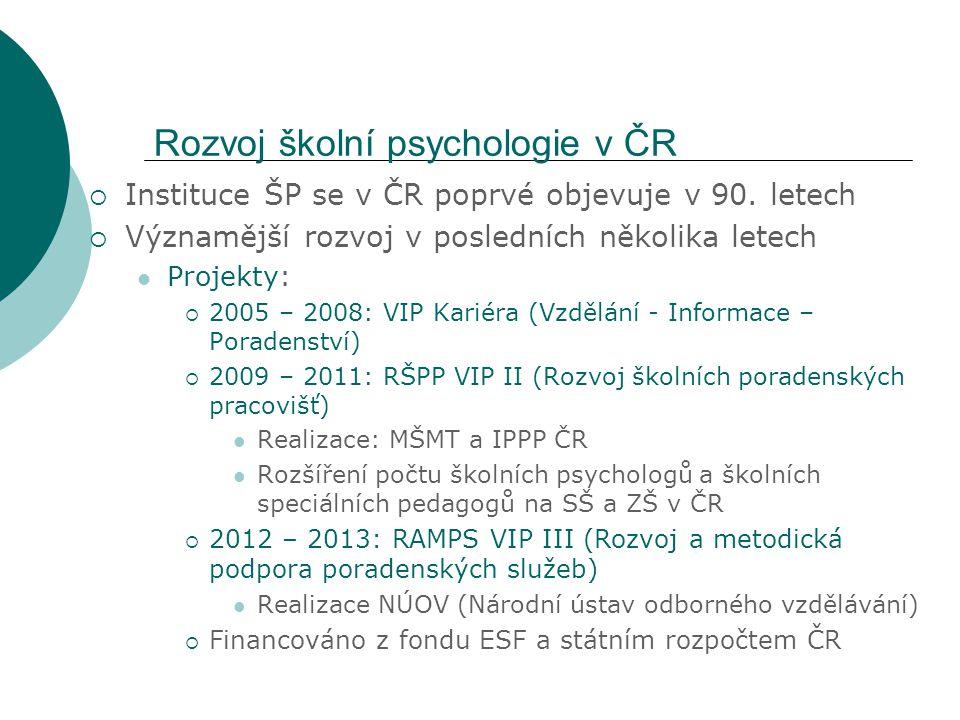 """Cíle a zaměření projektů  VIP I a II: Zavedení pozice """"školní psycholog a """"školní speciální pedagog do systému práce ve škole Vytvoření základních koncepčních dokumentů Vytvoření sítě školních poradenských pracovišť (ŠPP) Mapování různých oblastí působení ŠP a ŠSP na školách formou metodických zpráv Metodická a vzdělávací podpora ze strany IPPP  RAMPS III: Posílení kvality poskytovaných poradenských služeb ve ŠPP, PPP, SPC a SVP – zaměření na celý systém poradenských služeb Reflexe požadavků EU kladených na kvalitu a efektivitu poskytovaných poradenských služeb a vytvoření sítě integrované metodické podpory Tvorba modelové struktury programů DVPP pro školní psychology a speciální pedagogy ve školských poradenských zařízeních A další… viz http://www.nuov.cz/ramps-vip-iii http://www.nuov.cz/ramps-vip-iii"""