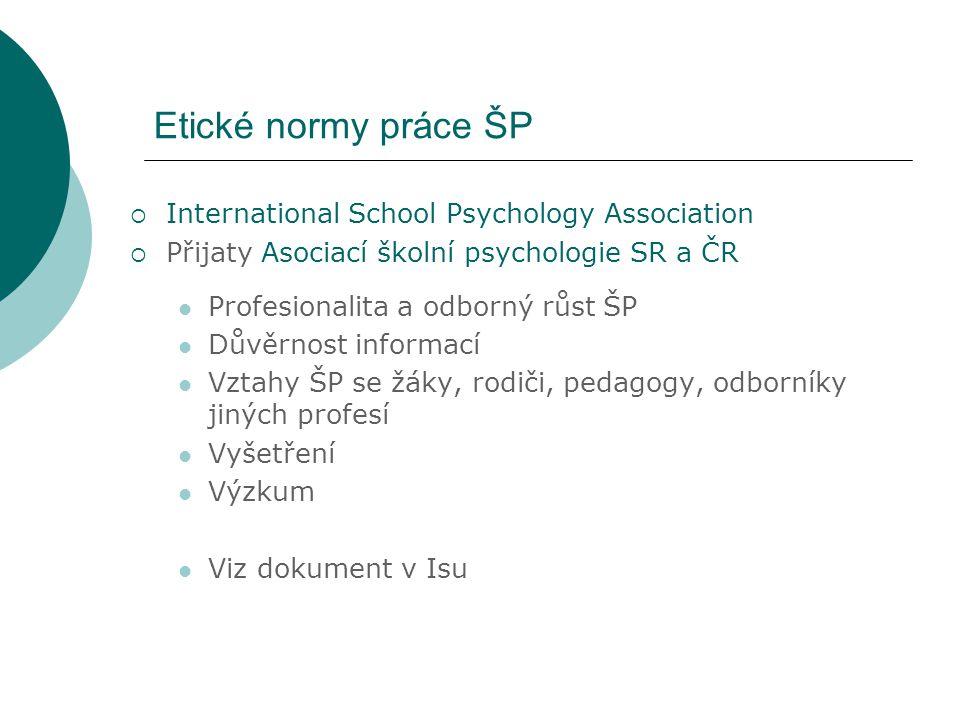 Etické normy práce ŠP  International School Psychology Association  Přijaty Asociací školní psychologie SR a ČR Profesionalita a odborný růst ŠP Dův