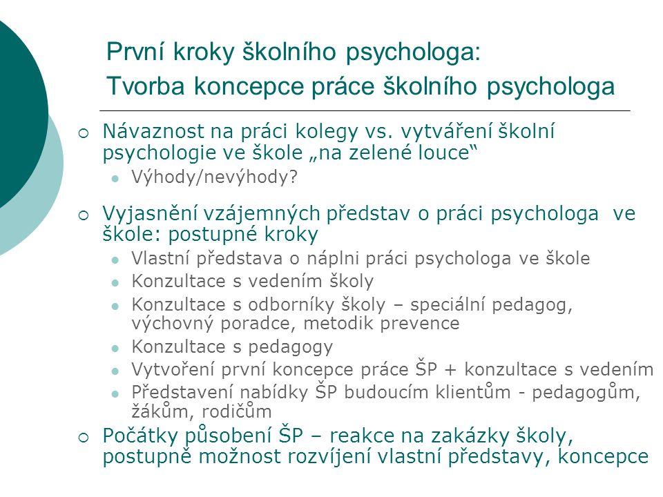 """První kroky školního psychologa: Tvorba koncepce práce školního psychologa  Návaznost na práci kolegy vs. vytváření školní psychologie ve škole """"na z"""