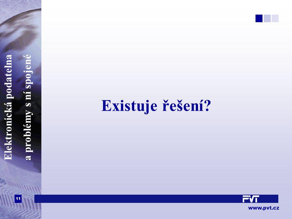11 www.pvt.cz Elektronická podatelna a problémy s ní spojené Existuje řešení?