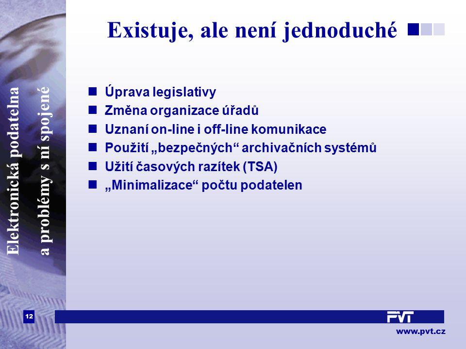 12 www.pvt.cz Elektronická podatelna a problémy s ní spojené Existuje, ale není jednoduché Úprava legislativy Změna organizace úřadů Uznaní on-line i