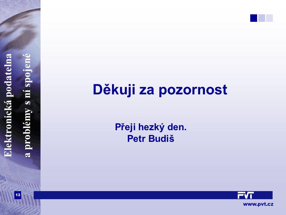 13 www.pvt.cz Elektronická podatelna a problémy s ní spojené Děkuji za pozornost Přeji hezký den. Petr Budiš