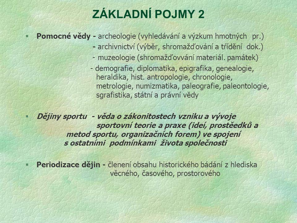 Periodizace dějin sportu Záleží na konvenci historiků.