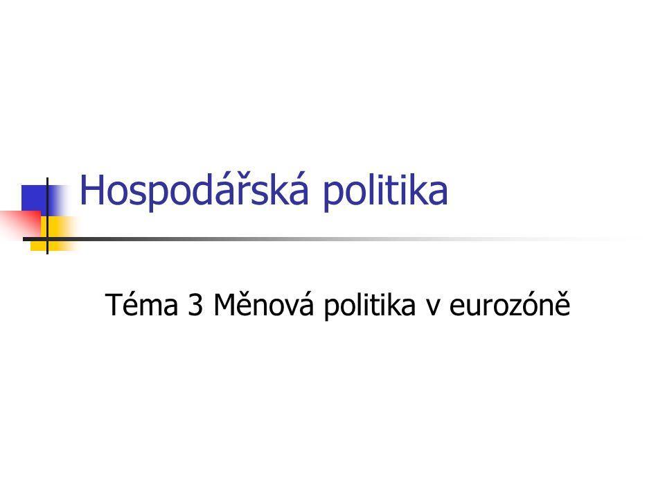 Hospodářská politika Téma 3 Měnová politika v eurozóně