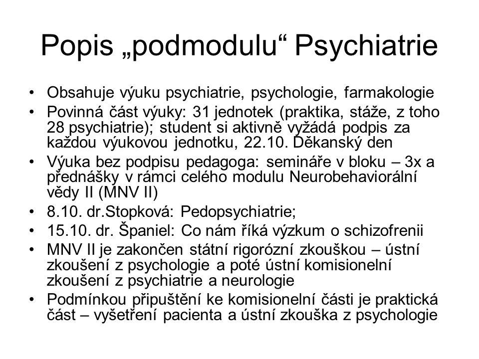 """Popis """"podmodulu Psychiatrie Obsahuje výuku psychiatrie, psychologie, farmakologie Povinná část výuky: 31 jednotek (praktika, stáže, z toho 28 psychiatrie); student si aktivně vyžádá podpis za každou výukovou jednotku, 22.10."""