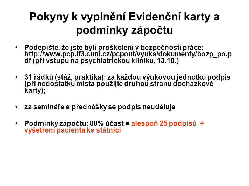 Pokyny k vyplnění Evidenční karty a podmínky zápočtu Podepište, že jste byli proškoleni v bezpečnosti práce: http://www.pcp.lf3.cuni.cz/pcpout/vyuka/dokumenty/bozp_po.p df (při vstupu na psychiatrickou kliniku, 13.10.) 31 řádků (stáž, praktika); za každou výukovou jednotku podpis (při nedostatku místa použijte druhou stranu docházkové karty); za semináře a přednášky se podpis neuděluje Podmínky zápočtu: 80% účast = alespoň 25 podpisů + vyšetření pacienta ke státnici