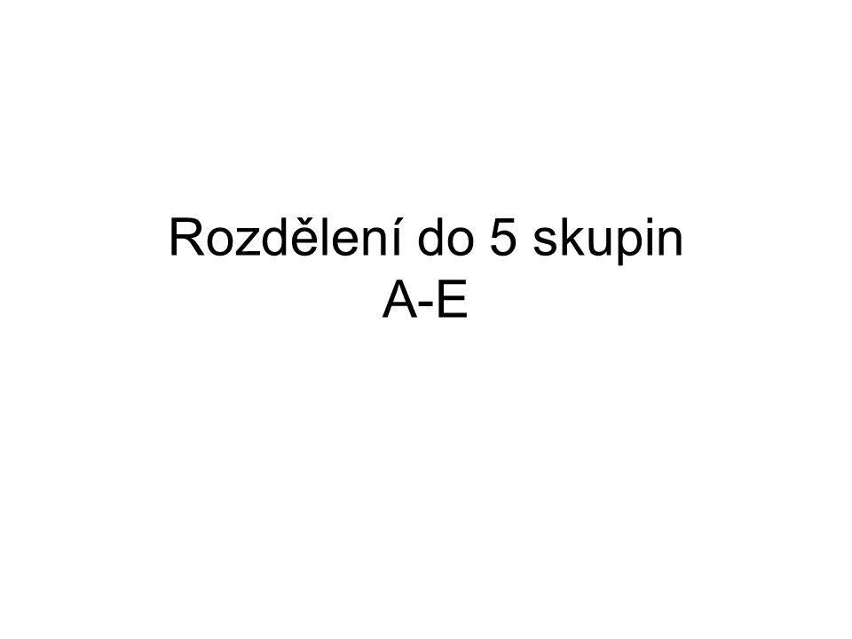 Rozdělení do 5 skupin A-E