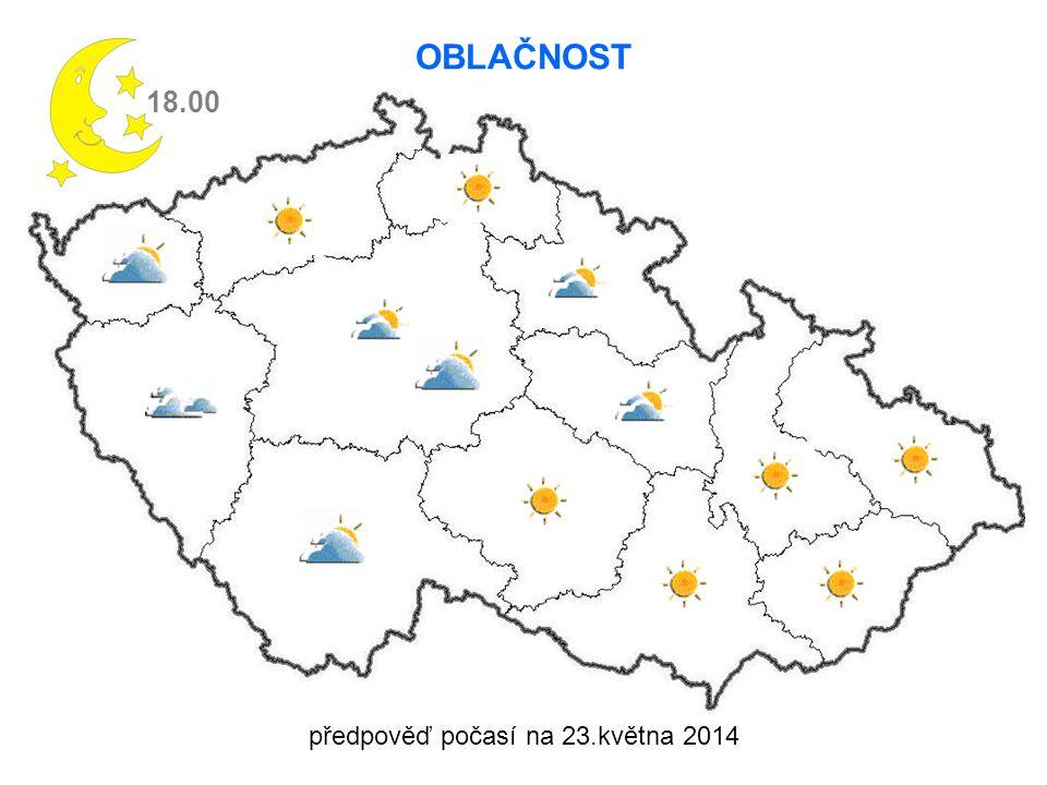 předpověď počasí na 23.května 2014 18.00 OBLAČNOST