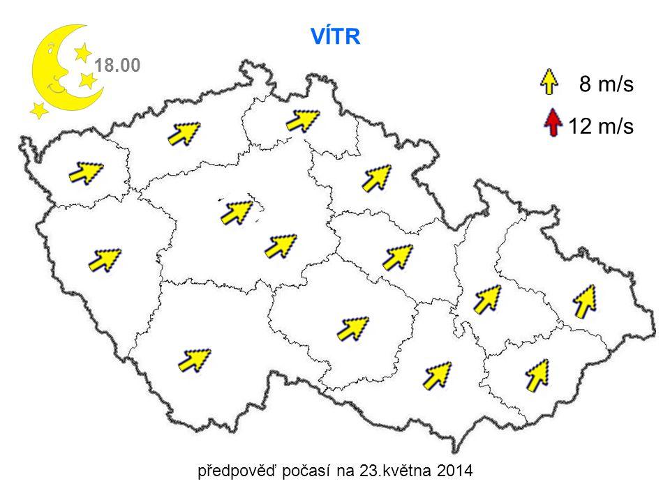 předpověď počasí na 23.května 2014 VÍTR 18.00 8 m/s 12 m/s