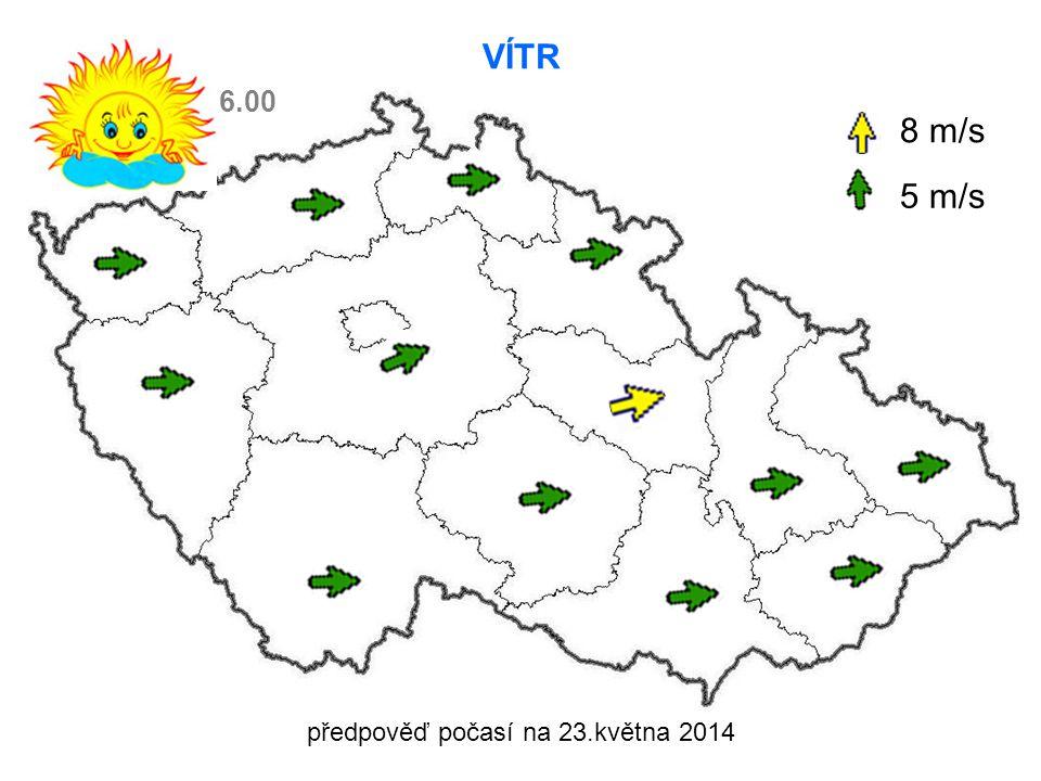 předpověď počasí na 23.května 2014 VÍTR 8 m/s 5 m/s 6.00