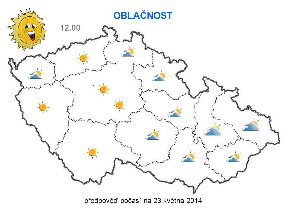 předpověď počasí na 23.května 2014 OBLAČNOST 12.00