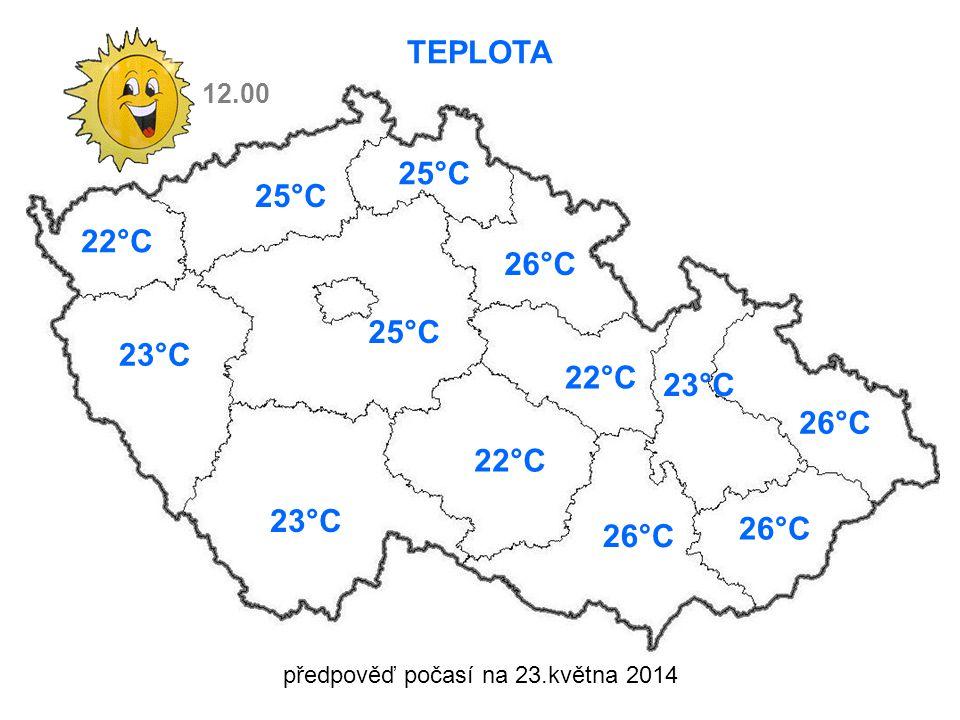 předpověď počasí na 23.května 2014 TEPLOTA 22°C 23°C 25°C 23°C 25°C 26°C 22°C 23°C 26°C 12.00